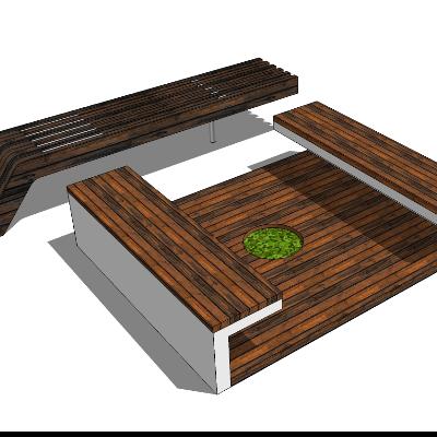 公园木质种植池长凳SU模型