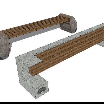 户外步行街木质长凳SU模型