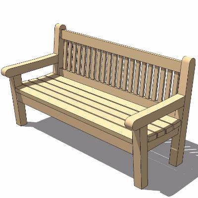 sketchup户外座椅模型(带靠背扶手)