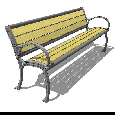 黄色木质条形座椅SU模型素材