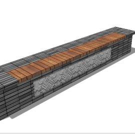 中国风雕花方砖长凳sketchup模型