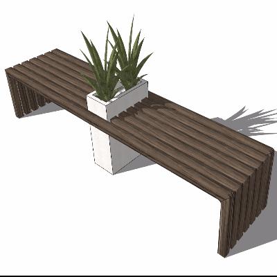 经典户外座椅su模型(带花草台)