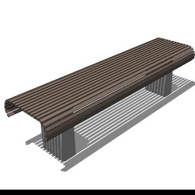 步行街灰色木质镂空长凳SU模型素材