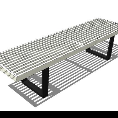 户外铁艺镂空长凳SU模型