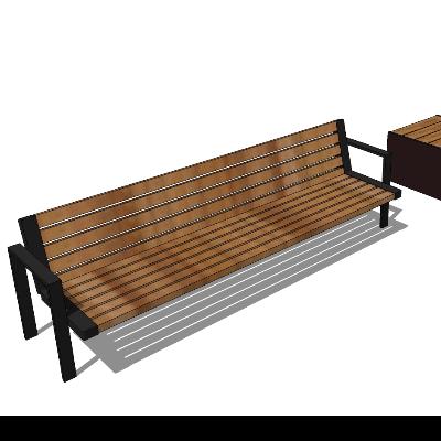 户外木质棕色长椅模型素材