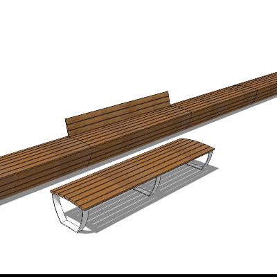 户外休息区木质长凳模型
