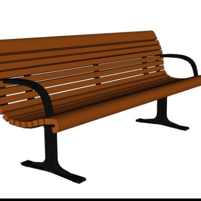 棕色户外木质长凳长椅SU模型