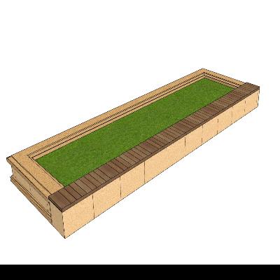 公园/小区种植池带座椅SKP模型素材