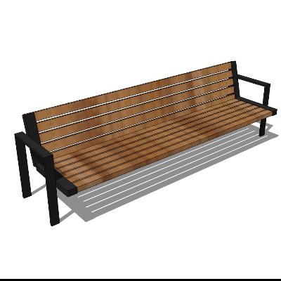棕色木质户外休息区座椅SU模型