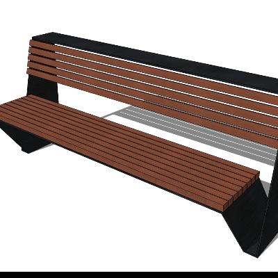 户外木质长椅景观椅子长凳skp模型