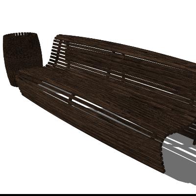 户外木质镂空条形座椅SKP模型素材