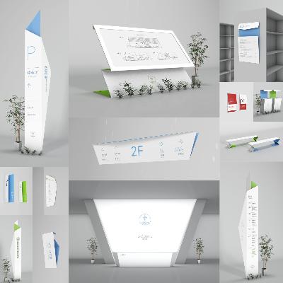 【美享云创·原创作品系列】之《创意简约图书馆书店折纸造型导视系统设计概念方案》