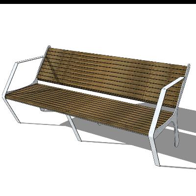 户外步行街木质简约长椅模型素材