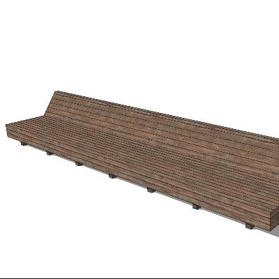 木质简约长椅SK模型素材