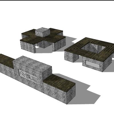 古镇石质坐凳skp模型素材