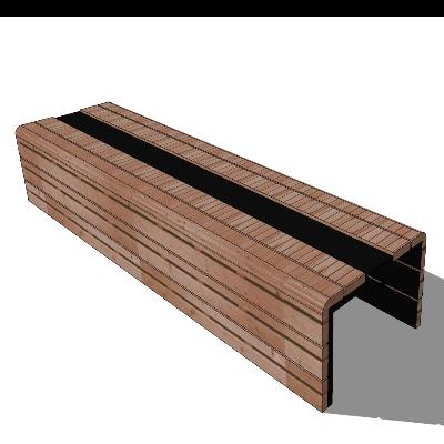 木质矩形简约户外长凳SU模型