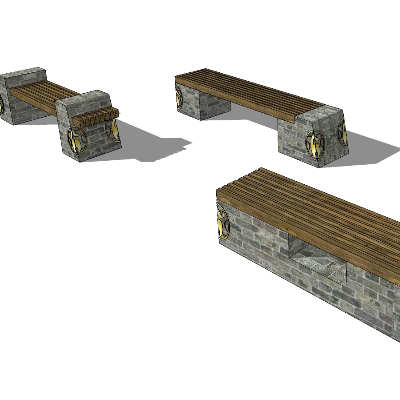 中国风木质条形长凳SU模型素材