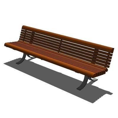 小区/步行街/公园木质长椅模型