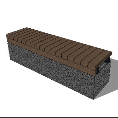 棕色户外木质长凳SU模型