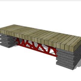 户外中国风木质长凳SU模型