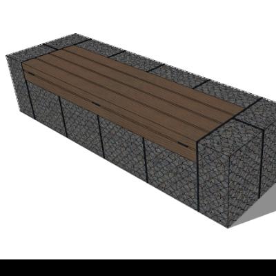 公园/步行街木质景观座椅SU模型