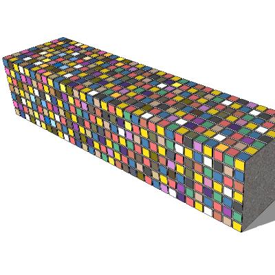 彩色方砖户外座椅模型