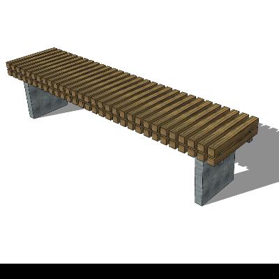 小区/公园棕色长凳模型素材