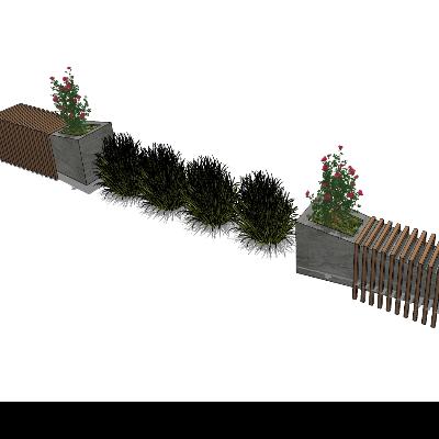 小区景观种植池SU模型