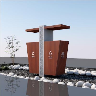 必然云创·创意中式简约公园景区木质垃圾桶