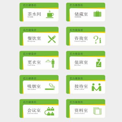 健身房扁平化绿色标识导视牌