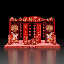 2019新年春节过大年商场中庭美陈dp点位设计