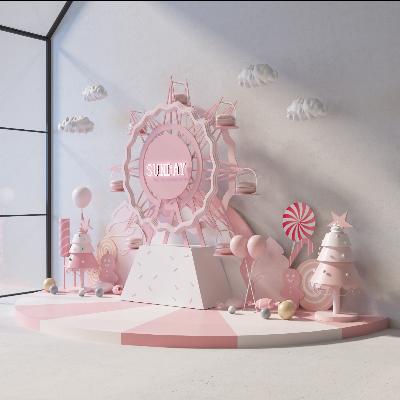 卡通可爱粉红商场卖场中庭摩天轮马卡龙美陈dp点位