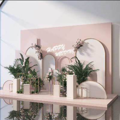 商场卖场粉红绿植美陈dp点位设计