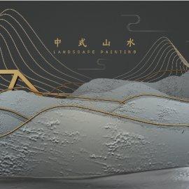 新中式中国风中式古风立体中式山水C4D工程源文件模型