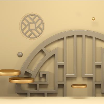 新中式中国风中式古风立体古典花纹景墙C4D工程源文件模型