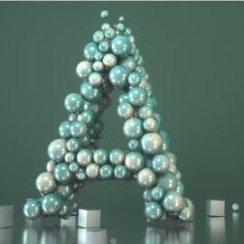 创意气球拼合字母A造型C4D模型素材