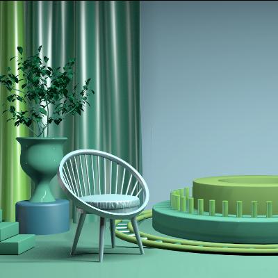 绿色清新简约精美C4D场景模型