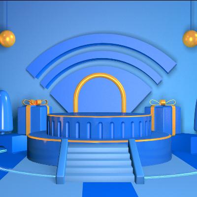 蓝色WIFI场景C4D模型素材