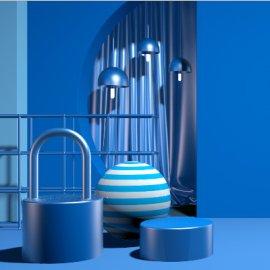 C4D精美蓝色场景模型素材