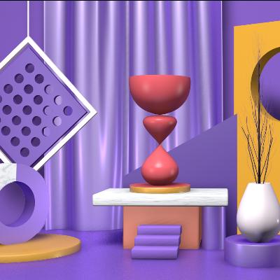 紫色精美C4D场景模型素材