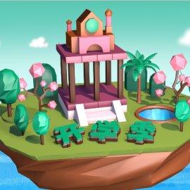 酷炫开学季悬浮小岛C4D场景模型