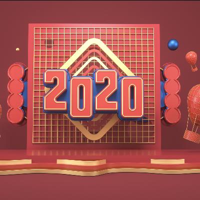 橘红色酷炫2020年美陈C4D场景模型