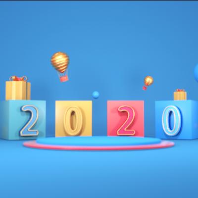 蓝色2020年礼盒堆头C4D场景模型