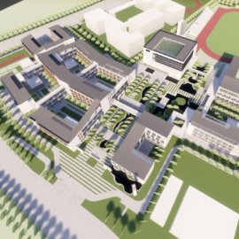 现代主义风格4层中学校园园区规划设计