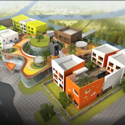 现代主义风格2层教育幼儿园