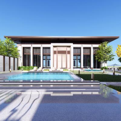 中式风格2层会所别墅豪宅房地产销售中心售楼处