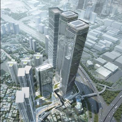 现代主义风格50层房地产高层住宅模型