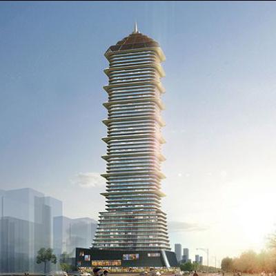 现代主义风格55层塔型建筑设计方案
