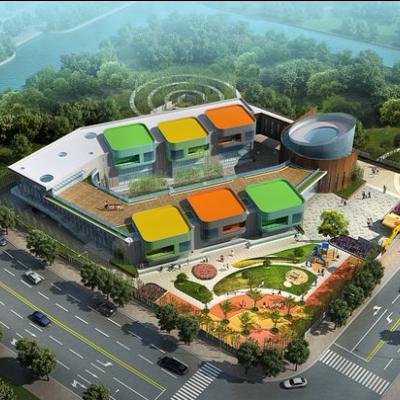 现代主义风格2层幼儿园规划设计