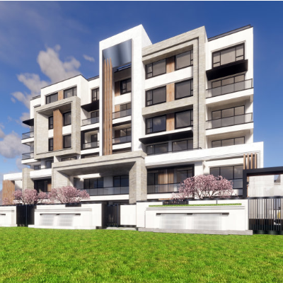 现代主义风格16层商用住宅小区